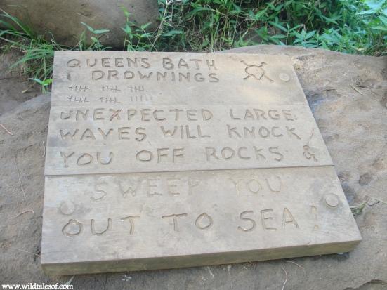 Queen's Bath Kauai Warning Sign
