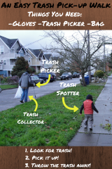 An Easy Trash Pick-up Walk: Refocusing our Afternoon Walk to do Some Good